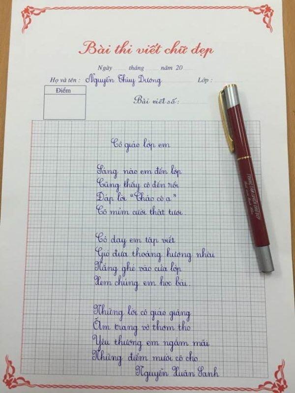 bài thi viết chữ đẹp ở tiểu học