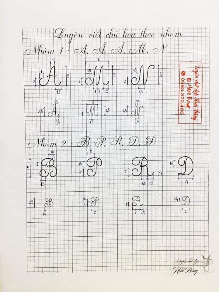 bang chu cai mau hoa - Kỹ thuật luyện chữ: Bảng chữ cái mẫu thường, mẫu hoa, chữ hoa sáng tạo