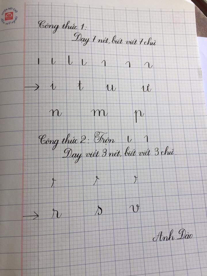cong thuc viet chu - Kỹ thuật luyện chữ: Bảng chữ cái mẫu thường, mẫu hoa, chữ hoa sáng tạo